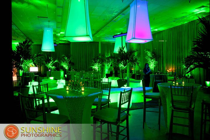 green events, green lighting, florida floral