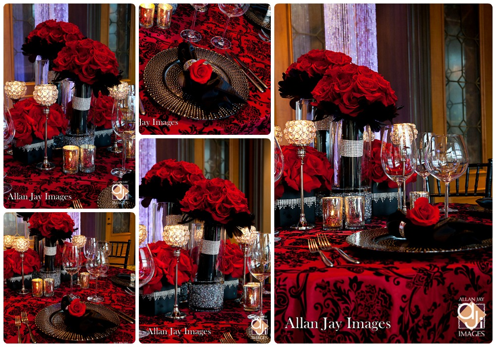 Black And Red Wedding Table Decorations Photograph