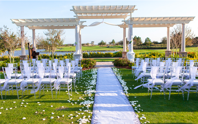 Our clear chiavari chairs paired with sheer white chair sashes looked