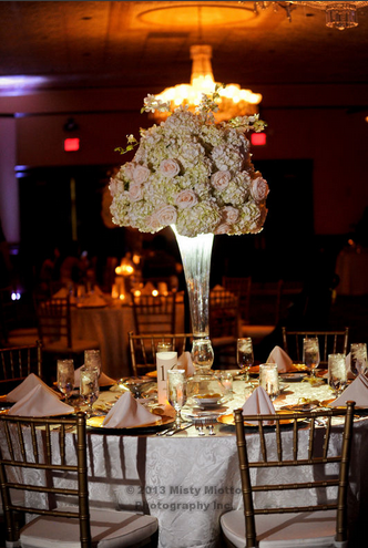 White Hydragena and pink rose wedding centerpiece Misty Miotto