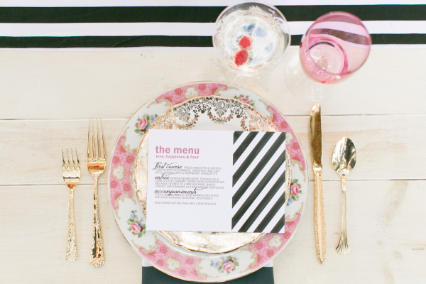 Amalie Orrange Photography, Table 6 Productions, A Chair Affair, raspberry and stripes menu