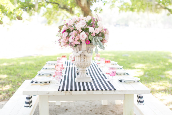 Media monday raspberry and striped wedding inspiration for Table 6 productions