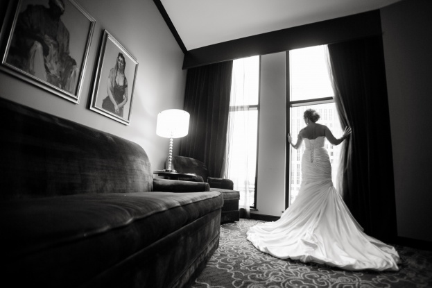 Black and white wedding, The Grand Bohemian Hotel, Castaldo Studios, Swanky I Do's, A Chair Affair Event Rentals, bride in window, silhouette