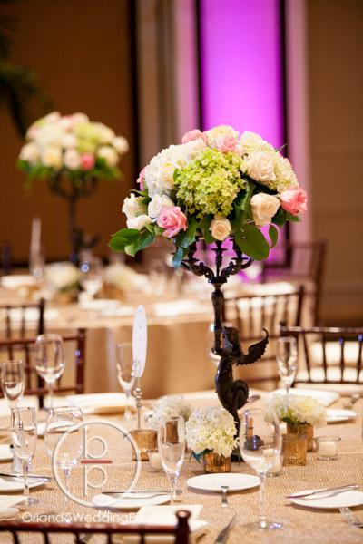 Fairytale wedding, Buena Vista Palace, white wedding, All About the Details, Perfect Sky Production, OrlandoWeddingPix, A Chair Affair Event Rentals, pink white centerpieces