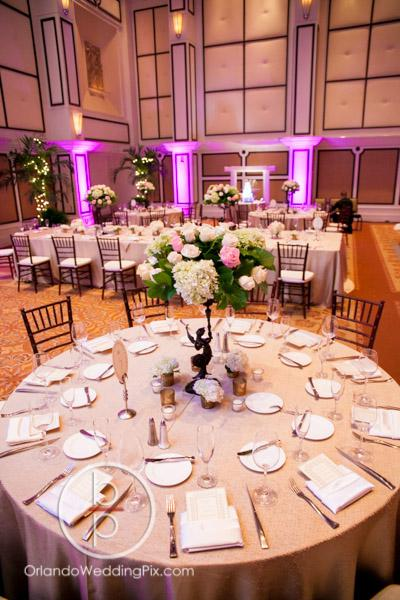 Fairytale wedding, Buena Vista Palace, white wedding, All About the Details, Perfect Sky Production, OrlandoWeddingPix, A Chair Affair Event rentals, chiavari chairs