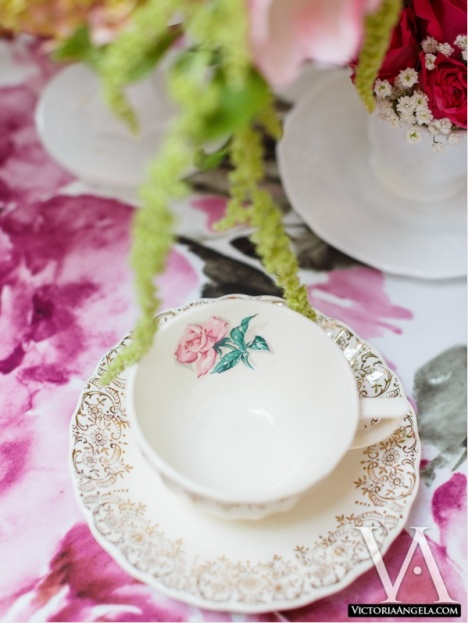 Floral Tea Cup and Saucer, Florida Federation of Garden Clubs, Garden Table Shoot, Victoria Angela Photography, A Chair Affair event rentals