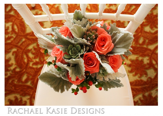 Beach Wedding, Coral, grey, Shores Resort and Spa, Rachael Kasie Designs, A Chair Affair Event Rentals, bouquet, white chiavari chair