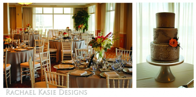 Beach Wedding, Coral, grey, Shores Resort and Spa, Rachael Kasie Designs, A Chair Affair Event Rentals, bouquet, white chiavari chairs, Pastry Studio Cake