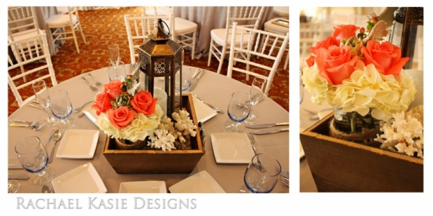 Beach Wedding, Coral, grey, Shores Resort and Spa, Rachael Kasie Designs, A Chair Affair Event Rentals, bouquet, white chiavari chairs, lantern centerpiece