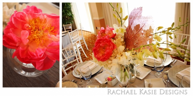 Beach Wedding, Coral, grey, Shores Resort and Spa, Rachael Kasie Designs, A Chair Affair Event Rentals, bouquets, white chiavari chairs, pink centerpiece