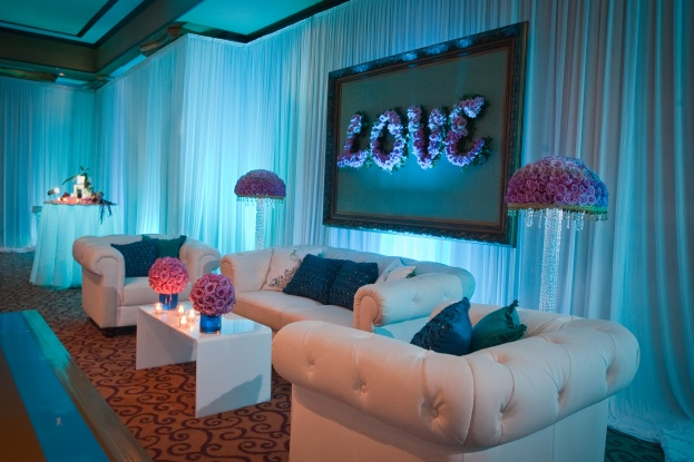 Myrna and Rebeca reception view with couches- Scott Watt Photography-Grand Bohemian Hotel-Orlando weddings-A Chair Affair Event Rentals