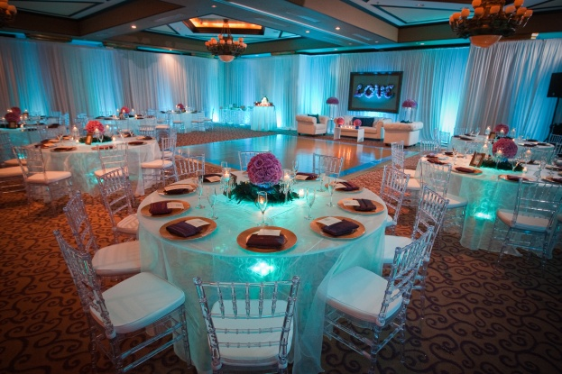 Myrna and Rebeca wedding reception view with tables- Scott Watt Photography-Grand Bohemian Hotel-Orlando weddings-A Chair Affair Event Rentals