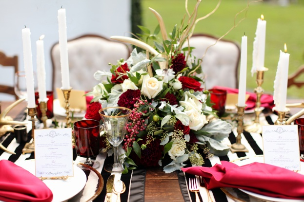antlers and floral centerpiece,Vine and Light Photography, The Acre, Winter Styled Shoot, A Chair Affair Event Rentals