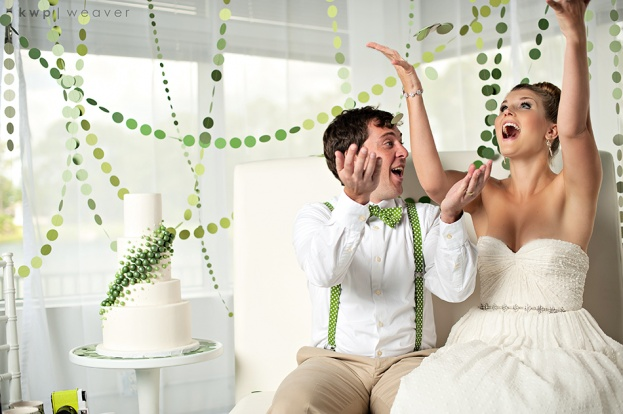 Heaven Event Center: Modern Green and White Wedding Inspiration