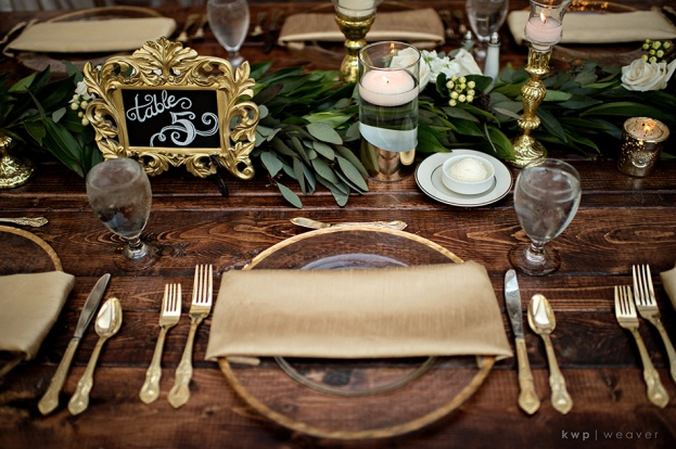 gold bling chargers, Casa Feliz, Walker Wedding, A Chair Affair Event Rentals