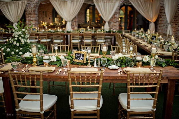 gold chaivari chairs and table view, Casa Feliz, Walker Wedding, A Chair Affair Event Rentals