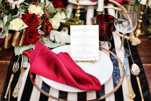 gold rim chargers and flatware,Vine and Light Photography, The Acre, Winter Styled Shoot, A Chair Affair Event Rentals