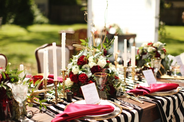 gold rim chargers and table runners,Vine and Light Photography, The Acre, Winter Styled Shoot, A Chair Affair Event Rentals