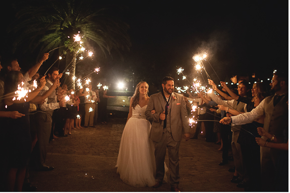 sparklers at wedding, Winter Park Racquet Club, Emory and Jon wedding, A Chair Affair Event Rentals