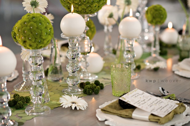 table accents, Green wedding, Orlando weddings, Heaven Event Center, Kristen Weaver Photography, A Chair Affair event rentals