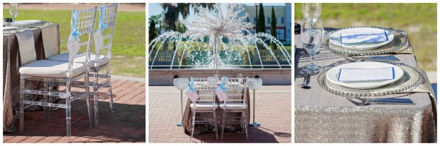 Clear Chiavari Chairs, Crystal Tree Decor, Silver Beaded Chargers, Contemporary Captures Photography, Frozen Styled Photo Shoot, A Chair Affair Event Rentals