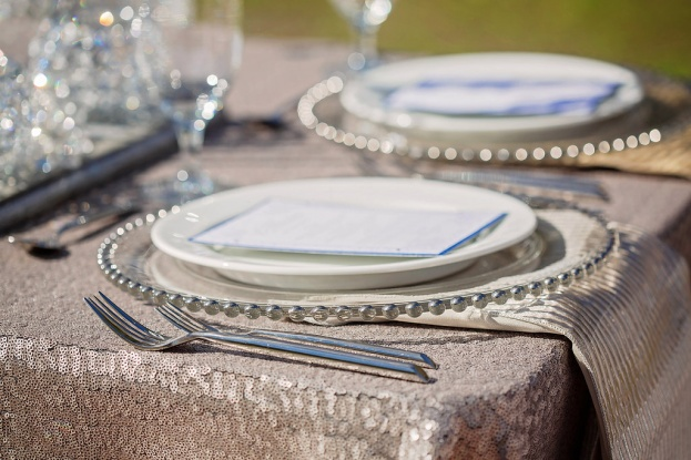 Silver Beaded Chargers, Silver Flatware, Silver Wedding Ideas, Contemporary Captures Photography, Frozen Styled Photo Shoot, A Chair Affair Event Rentals