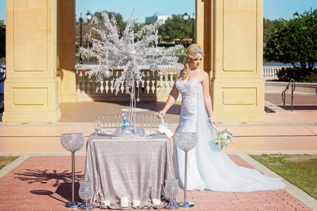 Silver Beaded Chargers, Winter Wedding, Silver Wedding, Chiavari Chairs, Contemporary Captures Photography, Frozen Styled Photo Shoot, A Chair Affair Event Rentals