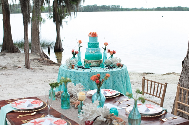 Tab McCausland Photography, Paradise Cove, A Chair Affair Event Rentals, Orlando wedding, Orlando chair rentals, gold chiavari chairs, farm table, gold beaded glass charger