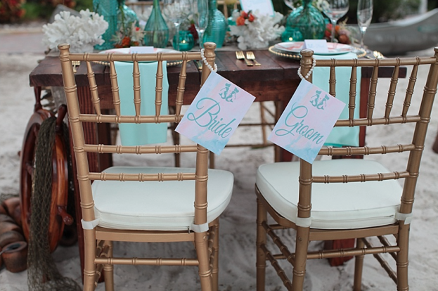 Tab McCausland Photography, Paradise Cove, A Chair Affair Event Rentals, Orlando wedding, Orlando chair rentals, gold chiavari chairs, white pads, farm table