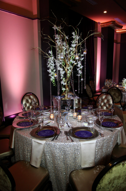Taupe Glass Wedding Chargers, Tab McCausland Photography, Grand Bohemian, A Chair Affair Event Rentals, Orlando Chair Rentals