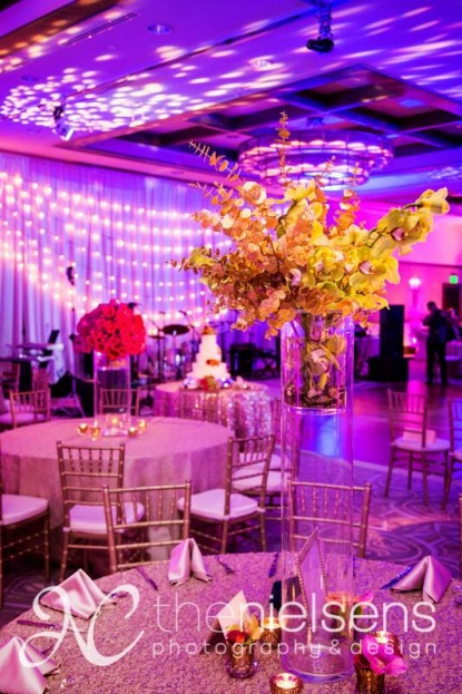 The Nielsens, The Alfond Inn, A Chair Affair Event Rentals, Orlando chiavari chair rentals, gold chiavari chairs, wedding floral
