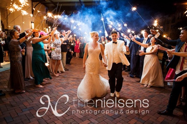 The Nielsens, The Alfond Inn, A Chair Affair Event Rentals, Orlando chiavari chair rentals, sparkler exit