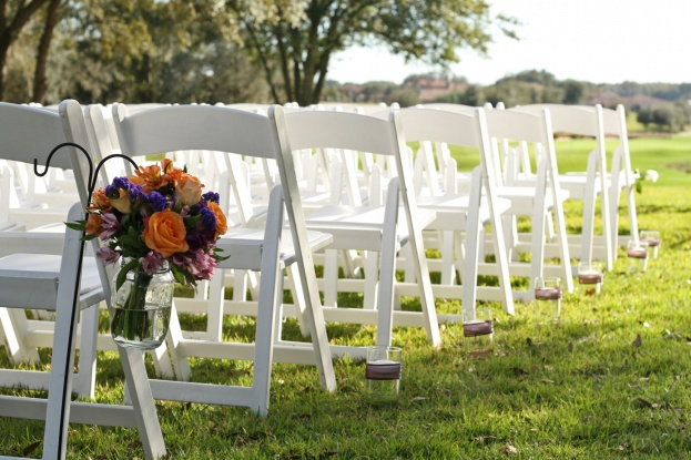White Resin Folding Chairs, Tara Homan Photography, Red Tail Golf Club, A Chair Affair Wedding Rentals