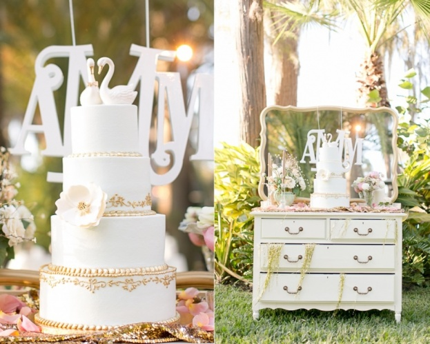 White and gold wedding cake vintage cake table outdoor wedding