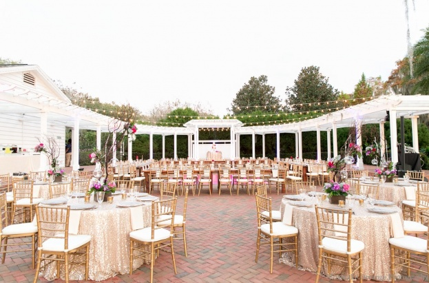Cypress-Grove-Estate-House-Amalie-Orrange-Photography-Over-The-Top-Rustic-Farm-Tables-Gold-Chiavari-Chairs-White-Chair-Pads-A-Chair-Affair-Event