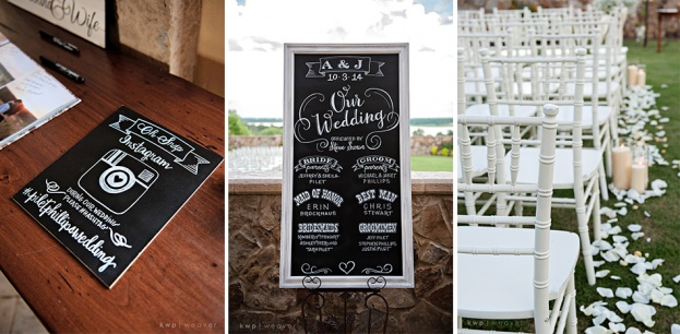 Ivory Wedding Ideas, Chalk Board Wedding Sign, Bella Collina, Kristen Weaver Photography, A Chair Affair Event Rentals