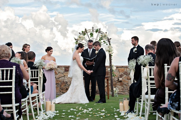 Ivory Wedding Ideas, Outdoor Ceremony, Bella Collina, Kristen Weaver Photography, A Chair Affair Event Rentals