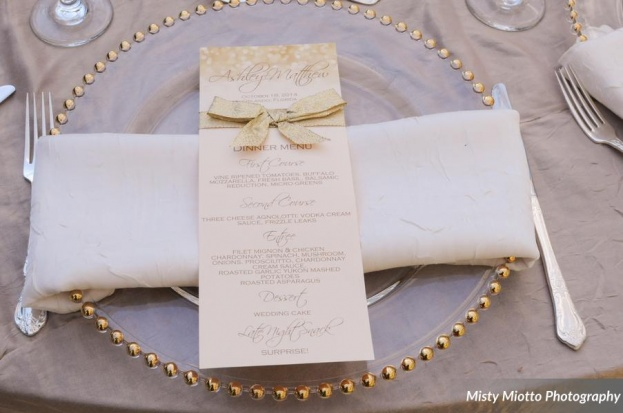Misty Miotto Photography, Paradise Cove, A Chair Affair event rentals, Orlando chair rentals, gold beaded Belmont chargers, flatware