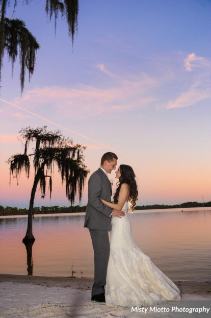 Misty Miotto Photography, Paradise Cove, A Chair Affair event rentals, Orlando chair rentals, lakefront wedding, gold wedding