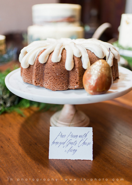 Pear Pecan Wedding Cake, LH Photography, Wild Acres, A Chair Affair Event Rentals