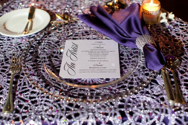 Rosen-Shingle-Creek-Diamond-Purple-Wedding-Art-Photo-Soul-Gold-Belmont-Beaded-Chargers-Gold-Flatware-Kirby-Rentals-A-Chair-Affair-Event-Rentals
