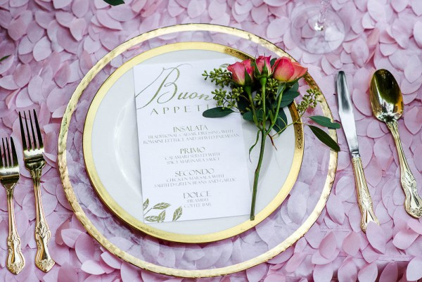 The-Garden-Chateau-Romantic-Floral-Wedding-Inspiration-Sophias-Art-Photography-Gold-Rim-Glass-Chargers-Gold-Flatware-A-Chair-Affair-Event