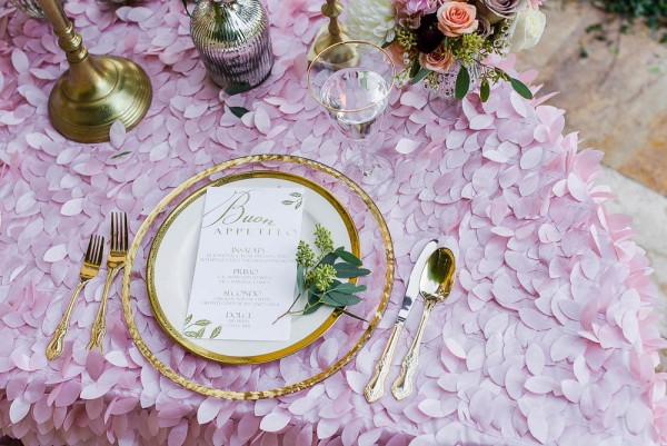 The-Garden-Chateau-Romantic-Floral-Wedding-Inspiration-Sophias-Art-Photography-Gold-Rim-Stemware-Gold-Rim-Glass-Chargers-A-Chair-Affair-Event