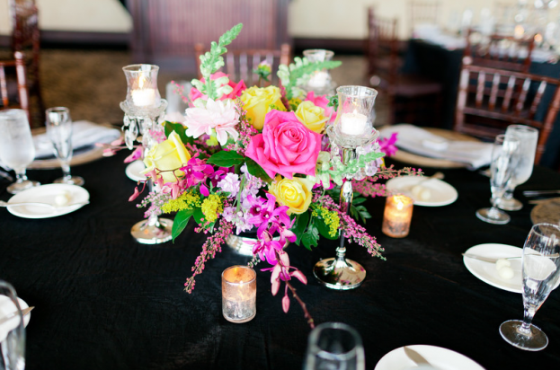 Pink and yellow rose floral arrangement