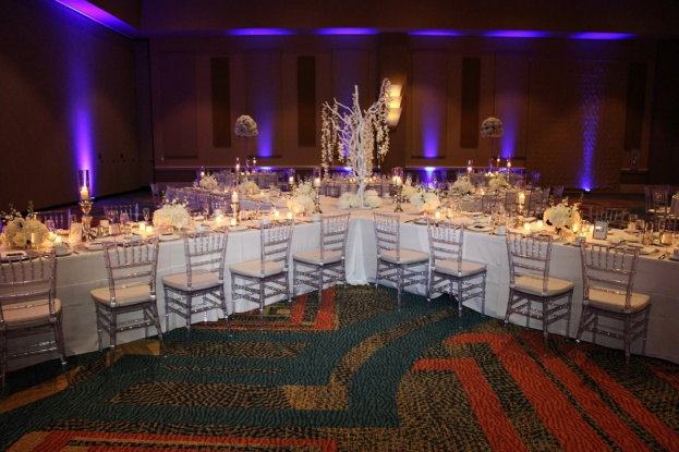 Rosen-Centre-Tab-McCausland-Photography-Silver-Glitter-Glass-Chargers-Guest-Table-Numbers-Crystal-Trees-Clear-Chiavari-Chairs-Lee-Forrest-Design-A-Chair-Affair-Event
