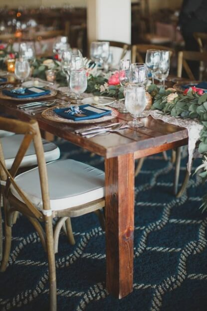 Carlouel-Yacht-Club-By-The-Robinsons-Nautical-Weddings-Rustic-Farm-Tables-French-Country-Chairs-Gold-Rim-Glass-Chargers-A-Chair-Affair-Event