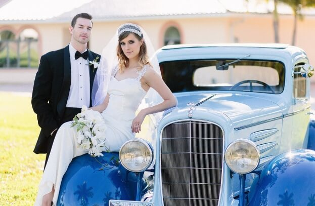 Gatsby Glam Wedding, Vintage Car, K and K Photography, 900 Park Street, A Chair Affair Event Rentals