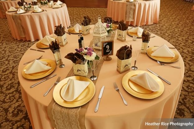 Gold Chargers, Heather Rice Photography, Lake Mary Events Center, A Chair Affair Event Rentals