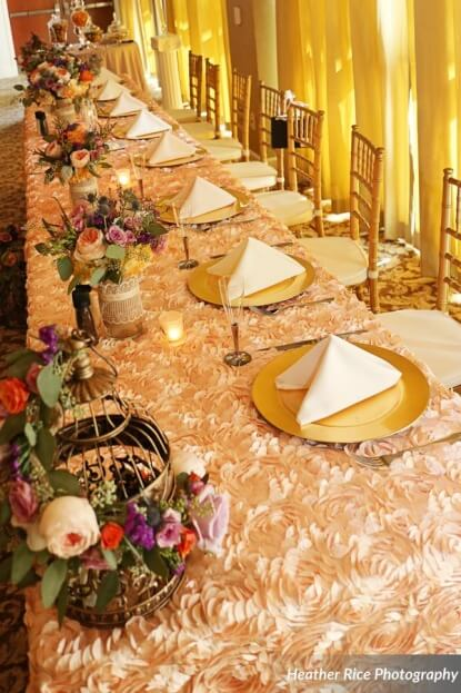 Gold Chargers, blush linens, Heather Rice Photography, Lake Mary Events Center, A Chair Affair Event Rentals