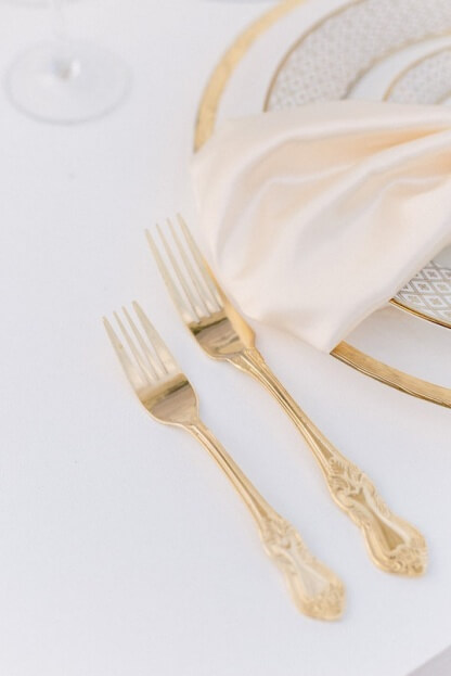 Gold Flatware, K and K Photography, 900 Park Street, A Chair Affair Event Rentals